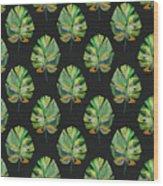 Tropical Leaves On Black- Art By Linda Woods Wood Print