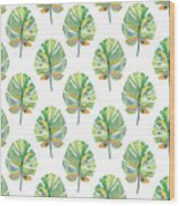 Tropical Leaves On White- Art By Linda Woods Wood Print