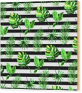 Tropical Leaves Pattern In Watercolor Style With Stripes Wood Print