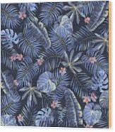 Tropical Leaves Pattern Wood Print