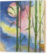 Tropical Moonlight And Bamboo Wood Print