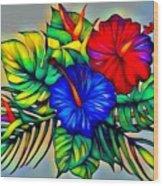 Tropical Neon Boutique  Wood Print