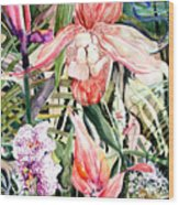 Tropical Orchids Wood Print