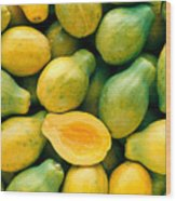 Tropical Papayas Wood Print