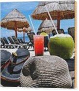 Tropical Paradise Sun, Sand, Beach And Drinks. Wood Print