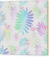 Tropical Pink Flamingos Wood Print