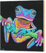 Tropical Rainbow Frog On A Vine Wood Print by Nick Gustafson