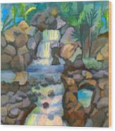 Tropical Rainbow Waterfall Wood Print