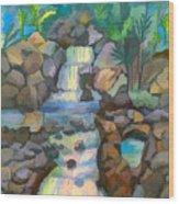Tropical Rainbow Waterfall Wood Print