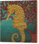 Tropical Seahorses Wood Print