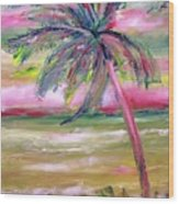 Tropical Sunset In Pink With Palm Tree Wood Print