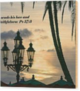 Tropical Sunset Psalm Fifty Seven Vs Three Wood Print