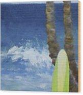 Tropical Surfboard Wood Print