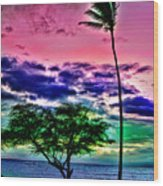 Tropical Trees Wood Print