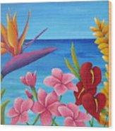 Tropical View Wood Print