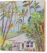 Tropical Waimea Cottage Wood Print by Marionette Taboniar