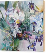 Tropical White Orchids Wood Print