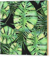 Tropics Noir, Tropical Monstera And Palm Leaves At Night Wood Print