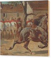 Trotting A Horse Wood Print