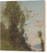 Trouillebert, Paul Desire 1829 Paris 1900 Farmer Sitting On The Edge Of The Water Wood Print
