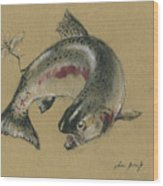 Trout eating Wood Print