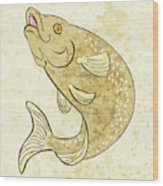 Trout Fish Jumping Wood Print by Aloysius Patrimonio