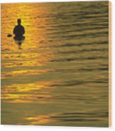 Trout Fishing At Sunset Wood Print