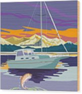 Trout Jumping Boat Wood Print