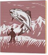 Trout Jumping Fisherman Wood Print