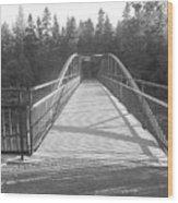 Trowbridge Falls Bridge Bw Wood Print