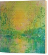 Trees In Sunset Wood Print