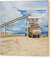Truck Loading Gravel In Tabnzania. Wood Print