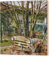 Truck N Tree Wood Print