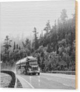 Truck On Foggy Highway Wood Print