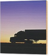 Truck Parked On Freeway At Sunrise Wood Print