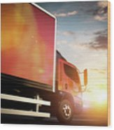 Truck Speeding On The Highway. Transportation Wood Print