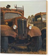 Trucks Under Smoke Wood Print