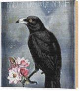 True North Crow And Magnolias Wood Print