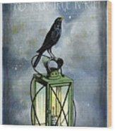 True North Crow Sits On The Night Lantern Wood Print