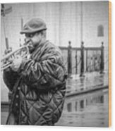 Trumpet In The Rain 2 - Nola Wood Print