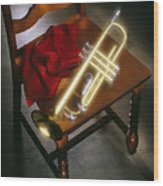 Trumpet On Chair Wood Print