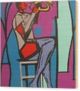 Trumpet Player II Wood Print