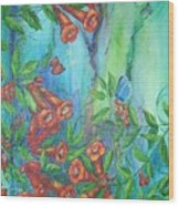 Trumpet Vine With Butterfly Wood Print