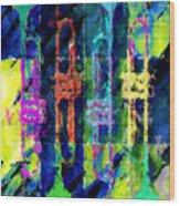 Trumpets Abstract Wood Print