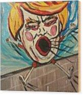 Trumpty Dumpty Falling Off His Imaginary Wall Wood Print