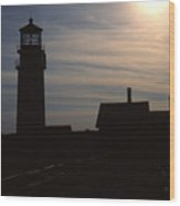 Truro Lighthouse In Silhouette Wood Print