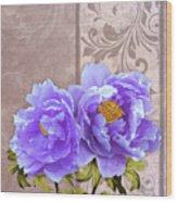Tryst, Lavender Blue Peonies Still Life Flowers Wood Print
