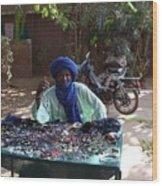 Tuareg Man Selling Jewelry Wood Print