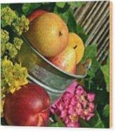 Tub Of Apples Wood Print