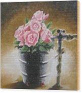 Tub Of Roses Wood Print